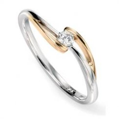 9ct White and yellow gold diamond twist ring .10ct