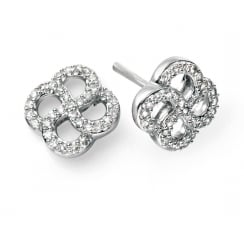 9ct white gold and diamond organic swirl earring