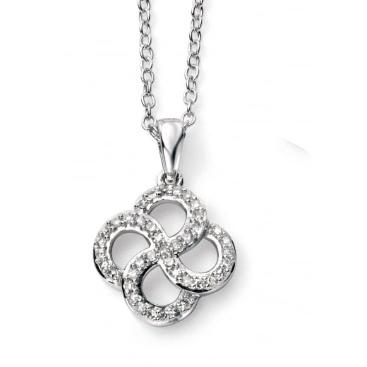 Cherubs Jewellery 9ct white gold and diamond organic swirl pendant