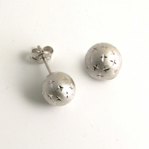 Cherubs Jewellery 9ct White Gold Ball Stud Earrings Brushed Diamond Sparkle Cut Design 4mm