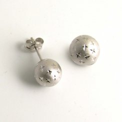 9ct White Gold Ball Stud Earrings Brushed Diamond Sparkle Cut Design 4mm