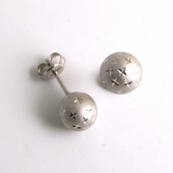 9ct White Gold Ball Stud Earrings Brushed Diamond Sparkle Cut Design 5mm