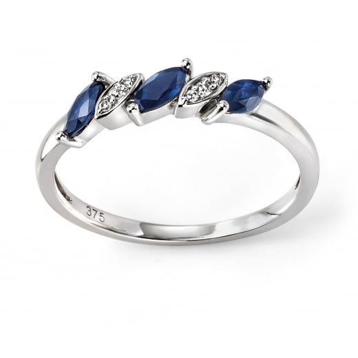 Cherubs Jewellery 9ct White Gold Blue Sapphire and Diamond Marquise Ring