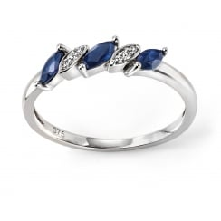 9ct White Gold Blue Sapphire and Diamond Marquise Ring