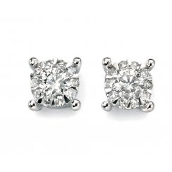 9ct White Gold Claw Set Diamond Cluster Earrings