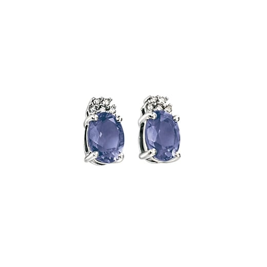 Cherubs Jewellery 9ct White Gold Diamond And Iolite Stud Earrings
