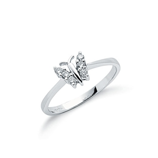 Cherubs Jewellery 9ct White Gold Diamond Butterfly Ring .15ct