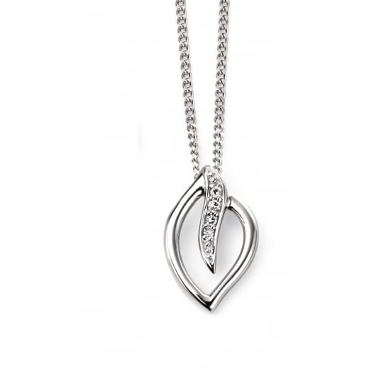 9ct White Gold Diamond Leaf Pendant