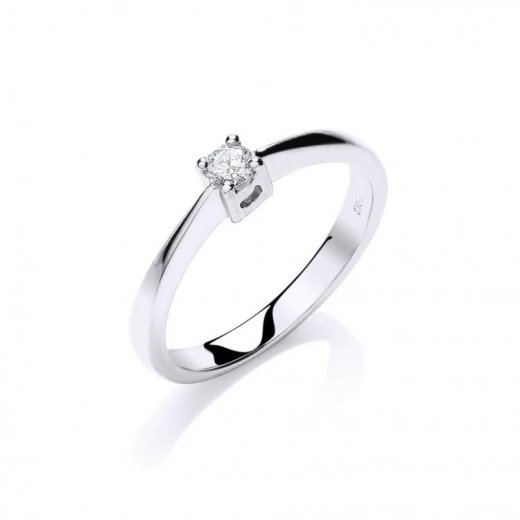Cherubs Jewellery 9ct White Gold Diamond Solitaire Ring .10ct