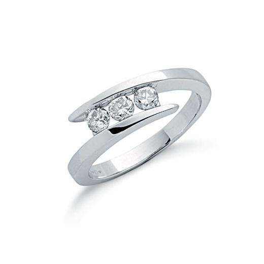 Cherubs Jewellery 9ct White Gold Entwine Three Stone Diamond Ring .50ct
