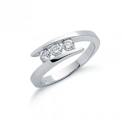 9ct White Gold Entwine Three Stone Diamond Ring .50ct