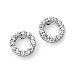 9ct white gold open circle pave diamond earrings