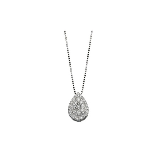 Cherubs Jewellery 9ct White Gold Pave Diamond Pear Shaped Pendant .15ct