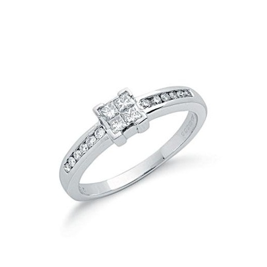 9ct White Gold Princess Cut Diamond Ring .33ct