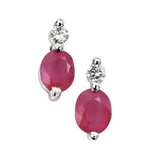 Cherubs Jewellery 9ct White Gold Ruby & Diamond Earrings