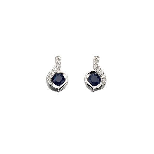 Cherubs Jewellery 9ct White Gold Sapphire & Diamond Earrings