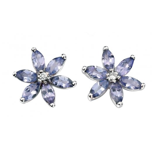 Cherubs Jewellery 9ct White Gold Tanzanite & Diamond Earrings