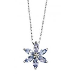 9ct White Gold Tanzanite & Diamond Flower Pendant