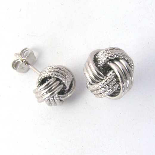 Cherubs Jewellery 9ct White Gold Textured Knot Stud Earrings