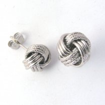 9ct White Gold Textured Knot Stud Earrings