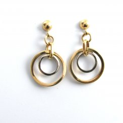 9ct Yellow And White Gold Double Circle Earrings