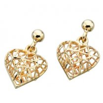 9ct Yellow Gold Cage Heart Earrings