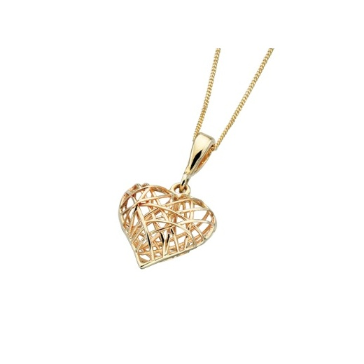 Cherubs Jewellery 9ct Yellow Gold Cage Heart Pendant