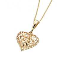 9ct Yellow Gold Cage Heart Pendant