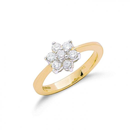 Cherubs Jewellery 9ct Yellow Gold Diamond Cluster Ring .50ct