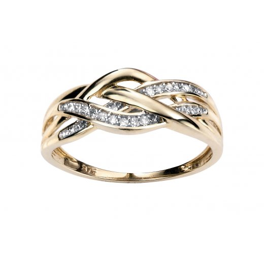 Cherubs Jewellery 9ct Yellow Gold & Diamond Crossover Ring