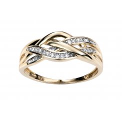 9ct Yellow Gold & Diamond Crossover Ring