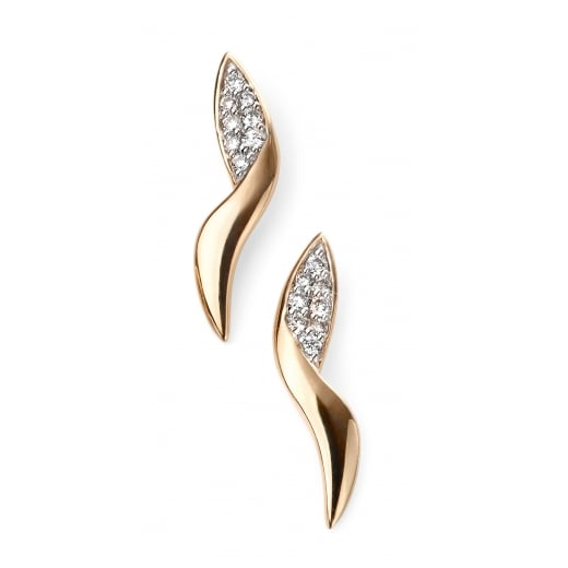 Cherubs Jewellery 9ct Yellow Gold Diamond Pave Swirl Stud Earring