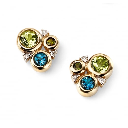 Cherubs Jewellery 9ct Yellow Gold Diamond, Peridot, London Blue Topaz, Green Tourmaline Circle Studs