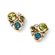 9ct Yellow Gold Diamond, Peridot, London Blue Topaz, Green Tourmaline Circle Studs