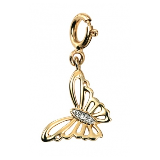 Cherubs Jewellery 9ct Yellow Gold Diamond Set Butterfly Charm