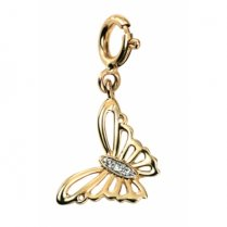 9ct Yellow Gold Diamond Set Butterfly Charm