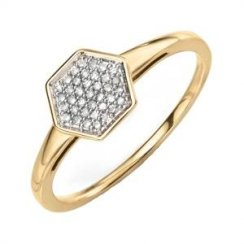 9ct Yellow Gold Hexagonal Ring With Pave Diamonds
