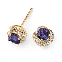 9ct Yellow Gold Iolite Flower Stud Earring