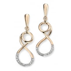 9ct Yellow Gold Pave Diamond Scroll Earrings