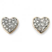 9ct Yellow Gold Pave Diamond Set Heart Stud Earrings