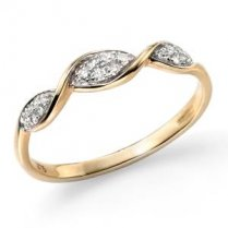 9ct Yellow Gold Pave Diamond Twist Ring