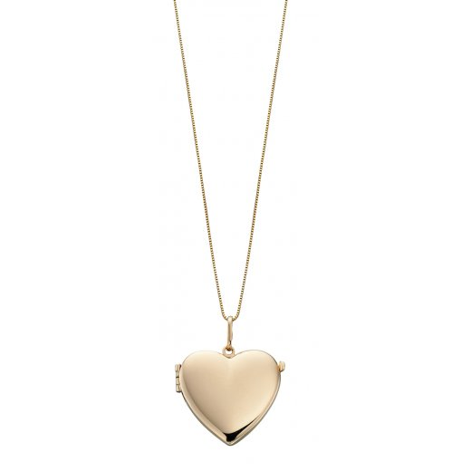 "Cherubs Jewellery 9ct Yellow Gold Plain Heart Locket With 18""/46cm Chain"