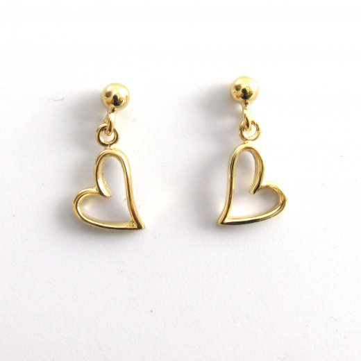 Cherubs Jewellery 9ct Yellow Gold Short Heart Drop Earrings