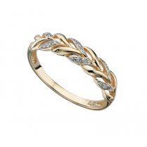 9ct Yellow Gold Woven Ring With Diamonds