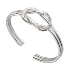 Adjustable silver knot toe ring
