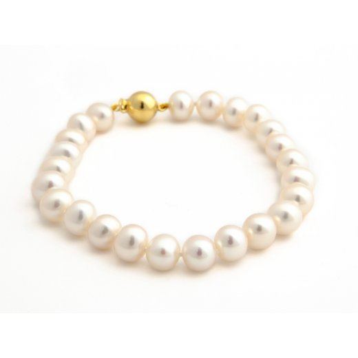 Cherubs Jewellery Akoya Pearl Bracelet With 18ct Yellow Gold Ball clasp
