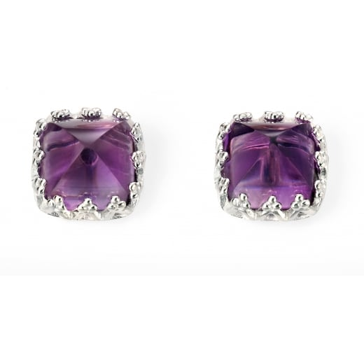 Cherubs Jewellery Amethyst Cushion Cut Earrings Set Into Silver