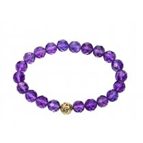 Amethyst Stretch Bracelet With 9ct Yellow Gold Ball Bead