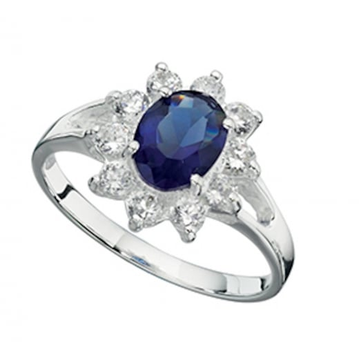 Cherubs Jewellery Blue and Clear CZ Cluster Ring