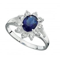 Blue and Clear CZ Cluster Ring